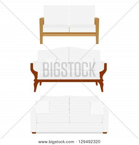 Vector illustration white vintage classic sofa. Classic vintage furniture. White sofa for cafe or restaurant. Sofa design template for room interior