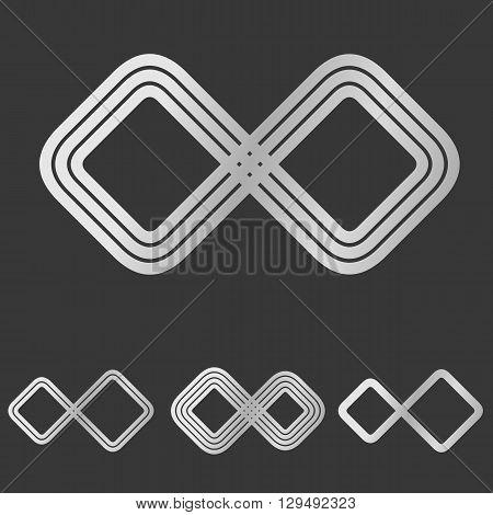 Silver line infinity symbol logo design set