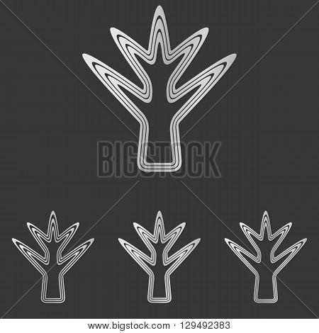 Silver line plant symbol logo design set