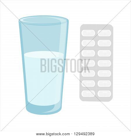 Vector illustration glass of water and white pills blister. Tablet strip icon. ills in a blister pack