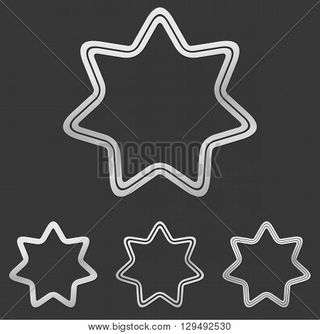 Metallic silver line star logo design set