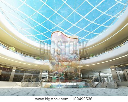 Multilevel Megamall Hall With Glass Roof And A Fountain.