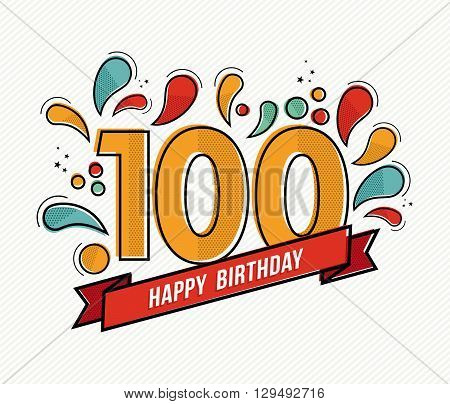 Color Happy Birthday Number 100 Flat Line Design