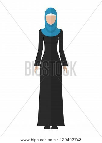 Vector flat illustration of a beautiful young muslim woman isolated. Arab woman icon. Muslim woman in hijab.