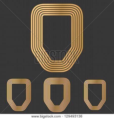 Bronze defense symbol icon logo design set