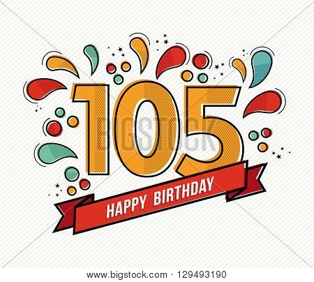 Color Happy Birthday Number 105 Flat Line Design