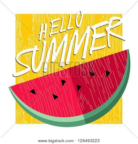 Hello Summer Happy Poster Design With Watermelon
