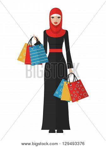 Vector flat illustration of a beautiful young muslim arab woman with shopping bags.Muslim arab woman shopping icon.