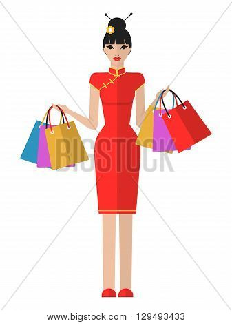Vector flat illustration of a beautiful young asian woman with shopping bags. Shopping woman isolated on white background. Beautiful chinese girl in traditional clothes.