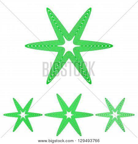 Green line star logo icon design set