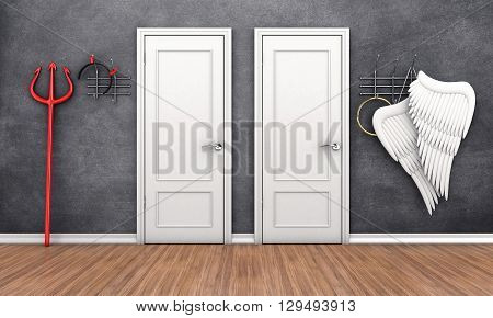 3d illustration of two doors in different places