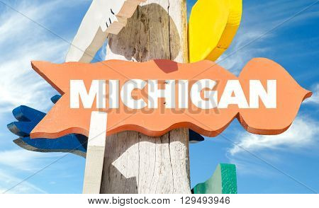 Michigan sign with sky background