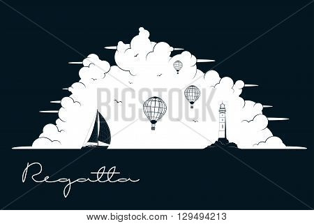 Yacht regatta. Sea and Ocean Travel Element. Sport and Holiday Template.