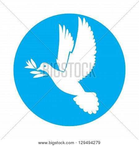 Flat icon of white dove of peace with olive twig in its beak