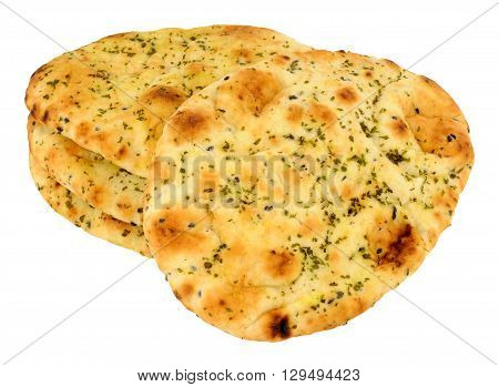 Group of fresh naan bread isolated on a white background