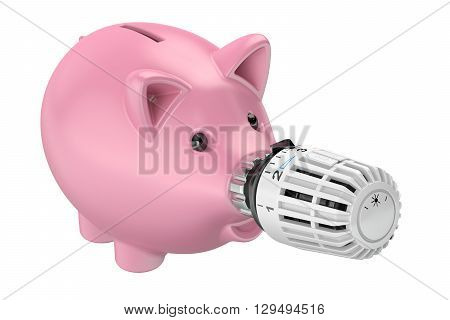 Energy saving concept piggy bank with radiator thermostatic valve 3D rendering