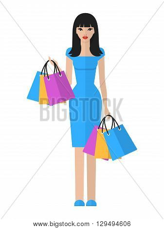 Vector flat illustration of a beautiful young asian woman with shopping bags. Shopping asian woman isolated on white background.