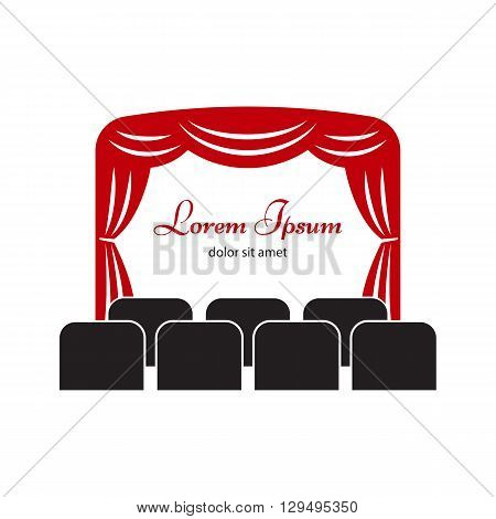 Theater or cinema logo, label or badge template. Theater or cinema icon. Theater stage with curtain and seats vector illustration.