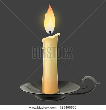 Burning candle in black metal candle holder. Vector illustration.