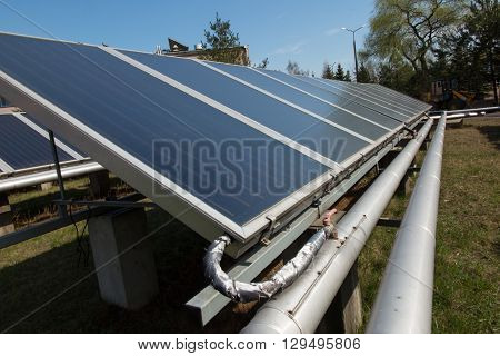 solar collectors supporting the work of heating