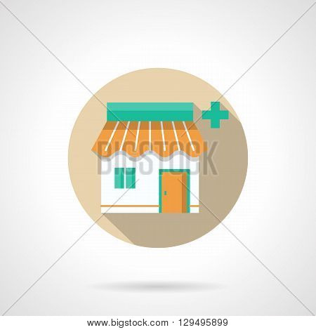 Chemist shop, building with orange roof and green medicine sign. Pharmacy and commerce. Medical marketing. Round flat color style vector icon. Web design element for site, mobile and business.