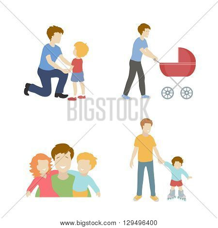 Fatherhood color flat icons set with father playing with children  illustration.