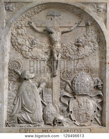 URSBERG, GERMANY - JUNE 09: Crucifixion in the monastery church of St. John in Ursberg, Germany on June 09, 2015.