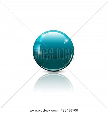 Glass ball of blue color. The object for design. Glossy ball. Volumetric ball. Vector illustration