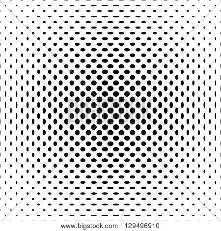 Centered black and white polka dot pattern