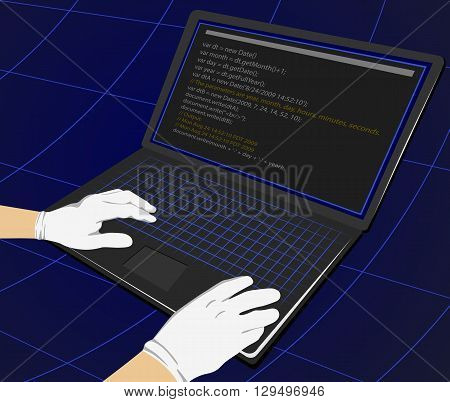 Hacker writing programming code on laptop for unauthorized payments. Theft Concept