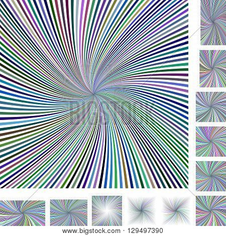 Abstract spiral design background set. Different color, screen, paper size versions.