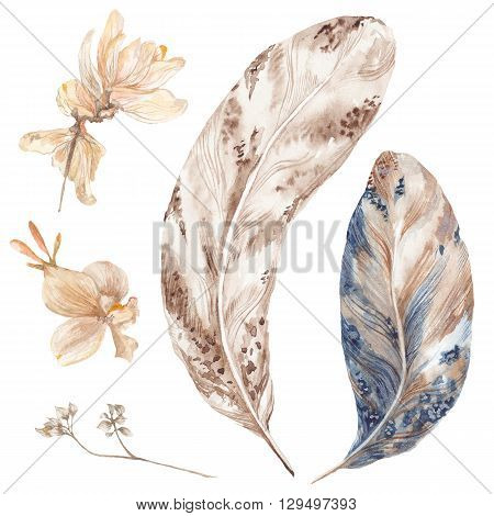 Fall botanical detailed iluustration in tribal style in brown and indigo colors isolated on white background