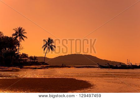Klong Muang beach on sunset Krabi province Thailand