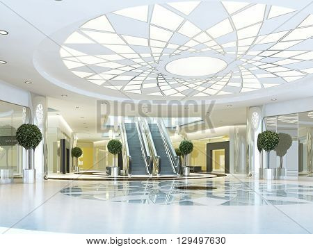 Hall in Megamall shopping center in a modern style. Suspended ceiling with lighting pattern. Marble patterned floor. Escalator to the second level. 3D render.