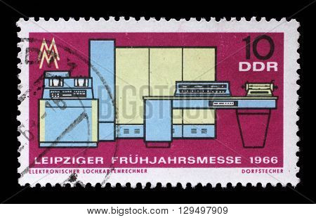 ZAGREB, CROATIA - JULY 02: a stamp printed in GDR shows Crushing and Conveyor Plant, Magdeburg, Leipzig Fair, circa 1966, on July 02, 2014, Zagreb, Croatia