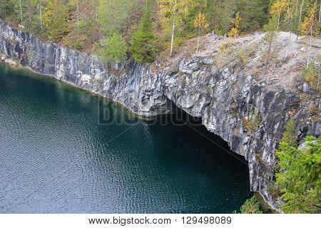 Ruskeala marble quarry in Karelia, Russia, summer