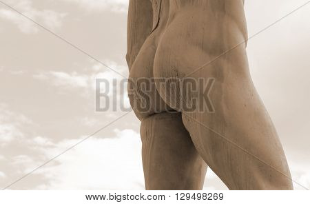 Marble Statue With Muscular Legs And Buttocks White