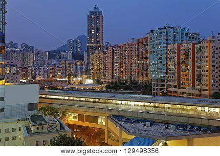Hong Kong City Downtown Night