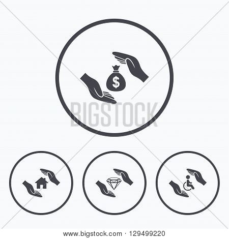 Hands insurance icons. Money bag savings insurance symbols. Disabled human help symbol. House property insurance sign. Icons in circles.