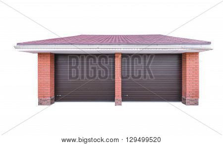 Facade of the private garage isolated on white background.