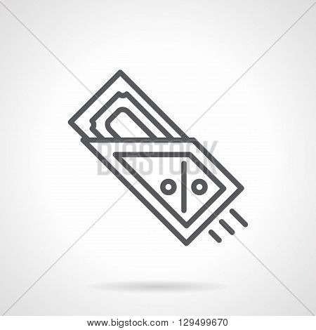 Money in envelope with percentage sign, credit card. Banking technologies, payment cards in shops and restaurants. Simple black line vector icon. Single element for web design, mobile app.