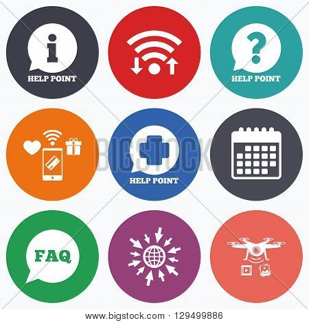 Wifi, mobile payments and drones icons. Help point icons. Question and information symbols. FAQ speech bubble signs. Calendar symbol.