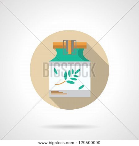 Herbal ointment in green jar. Alternative treatment of skin diseases. Natural medicine and pharmacology, cosmetics. Round flat color vector icon. Web design element for site, mobile and business.