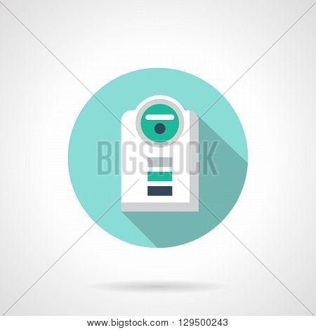 Humidifier with long shadow. Modern climate technology, moistening and cleaning of air at home. Round flat color style vector icon. Web design element for site, mobile and business.