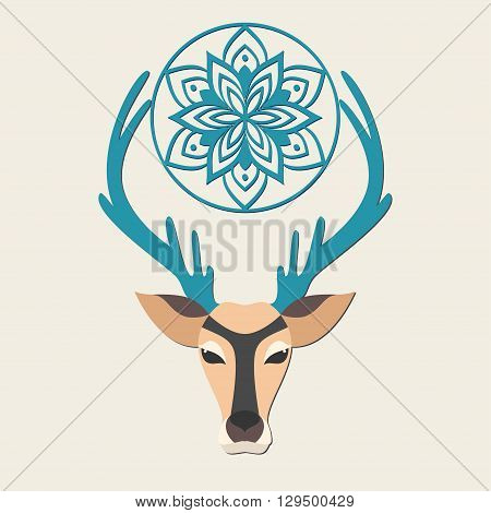 Greeting Beautiful card with deer. Logo of animal made in vector. Deer Illustration for design, pattern, textiles. Hand drawn map with deer graphic. Use for children clothes, pajamas, web sites