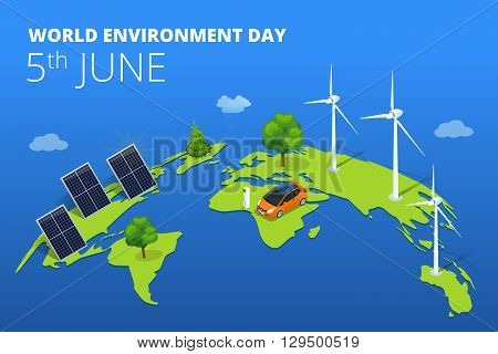 World environment day concept.  Saving nature and ecology concept. Vector linear trees, electric car, alternative energy generators. Design for save earth day