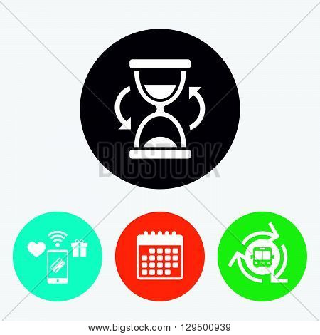 Hourglass sign icon. Sand timer symbol. Mobile payments, calendar and wifi icons. Bus shuttle.