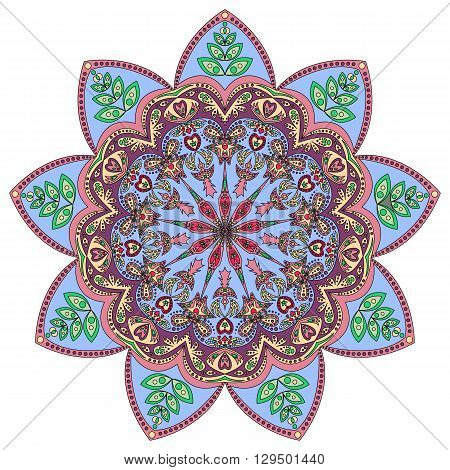 Colorful pattern of ornamental mandala in blue eastern colors isolated on white. Vector illustration