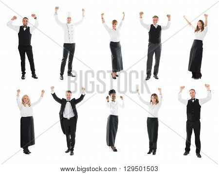 Collage Of Happy Restaurant Staff Raising Arms Against White Background