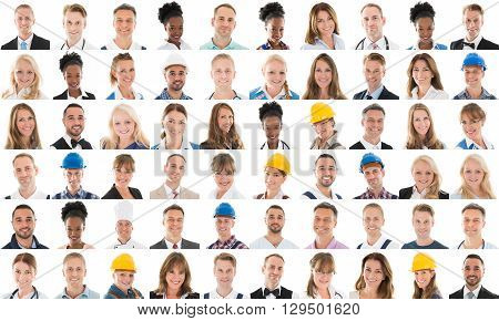Collage Of Smiling People With Different Profession Over White Background